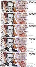 LOT Ecuador, 5 x 10000 (10,000) Sucres, 12-7-1999, Pick 127 (127e), UNC