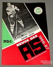 1966-67 AHL Quebec Aces Program Wayne Hicks Cover