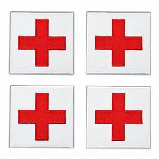"""4 Lot Traditional Red Cross 2.5"""" Patch Embroidered Iron on White Medic Paramedic"""