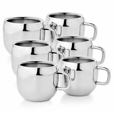 Stainless Steel Double Wall plan coffee/tea Apple shape Mug (set of 6 )