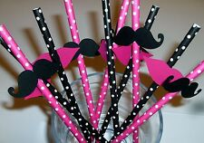 10 Fun Mustache and Lips Straws, Gender Reveal,Bachelorette, Baby Shower (923S)