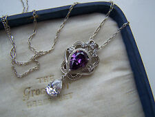 VINTAGE STERLING SILVER AMETHYST SIMULATED DIAMOND LAVALIER PENDANT NECKLACE 18""