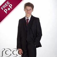 Boys suit, Boys black suit, Page boy outfit, Boys tuxedo, Boys wedding suit, 5pc