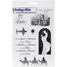 New Cling IndigoBlu RUBBER STAMP Set CHRISTMAS JOY TO THE WORLD  free usa ship