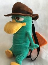"""Disney Phineas & Ferb Perry The Platypus Plush Backpack Soft Toy Bag 15"""" EUC"""