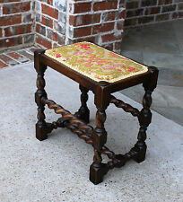 Antique English Oak Barley Twist Floral Chenille Upholstered Bench Foot Stool