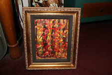 Superb MAX Signed Oil Painting-Fall Foliage Trees Leaves-Abstract Cubism-Framed