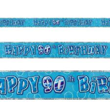 12ft Happy 90th Birthday Blue Sparkle Prismatic Party Foil Banner Decoration