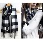 Winter Women Wool Blend Warm Soft Geometric Tassel Wrap Scarf Shawl Stole Casual