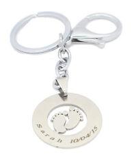 Baby Piedi Chiave Borsa fascino qualsiasi nome inciso Placcato in oro bianco, Regalo, Regno Unito