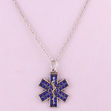 Star of life necklace blue rhinestone, EMT paramedic medic medical emergency