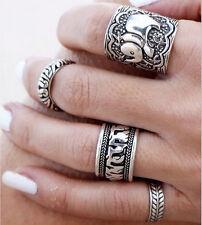 Ethnic Boho Elephant leaf Totem Quest Vintage Engraving Knuckle rings 4pcs