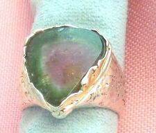 Old Stock Sterling Silver W/14k Gold Bezel Watermelon Tourmaline Ring skais OC16