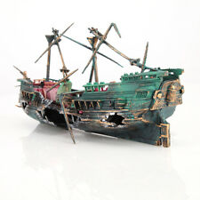 "9.36"" * 4.68"" Large Aquarium Decorations Wreck Sunk Ship Aquarium Plactic Boa..."