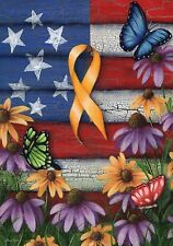 """Home of the Free Yellow Ribbon Garden Flag Patriotic Troops Floral 12.5"""" x 18"""""""