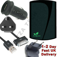 iGo Apple iPad & iPhone UK Home Wall & Car Charger Kit UK/EU iPod Touch 3 & 4