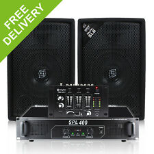 "2x Skytec SL6 6"" PA Party Speakers + Amplifier + DJ Mixer Cables System 500W"