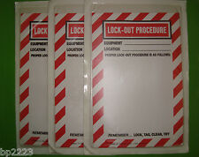 """3-PK ADHESIVE BACKED LOCKOUT PROCEDURE SLEEVES & SIGNS, LPS69, 6""""W X 9""""H, NEW"""