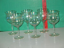Set of 6 Fostoria Crystal Pink Iridescent Ribbed Clear Stem Wine Glasses
