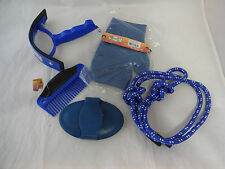 New Horse Grooming Kit Rubber Mitt Curry Comb Set Blue Mini Sweat Scraper Hanger