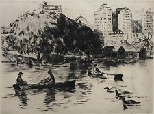 GIFFORD BEAL-NY Impressionist-Hand Signed LIM.ED Etching-Central Park Rowboats