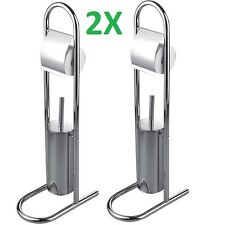 2X Stainless Steel Toilet Brush & Paper Holder Bathroom Roll Stand Free Standing