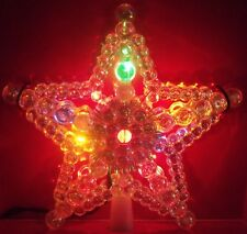 CHRISTMAS MULTI COLOR LIGHT UP LIGHTED BUBBLE STAR CRYSTAL BEAD TREE TOPPER TOP