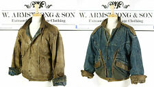 Men's VTG 80s REVERSIBLE Brown REAL LEATHER DENIM Bomber MOD Biker Jacket UK XL