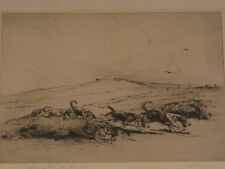 MAGNIFICENT KATHLEEN FRANCES BARKER (B.1901) HUNTING DOGS DRYPOINT PRINT ETCHING