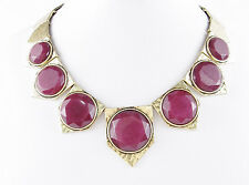LUCKY BRAND Red Jade Round Stone Hammered Gold-Tone Frontal Necklace $75