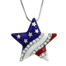 4th of July Patriotic Red White Blue American USA Flag Star Necklace Pendant a1