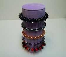 Bracelet jewellery display roll for elasticated bracelets (Lilac Suede)