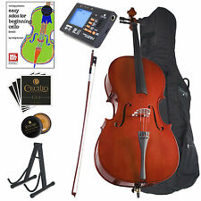 CECILIO SIZE 4/4 3/4 1/2 1/4 1/8 ACOUSTIC CELLO STUDENT w/ TUNER, BOOK CCO-100