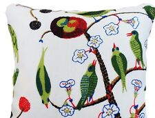 Josef Frank Fabric Cushion Cover Green Birds Printed Linen White Green 16x12""