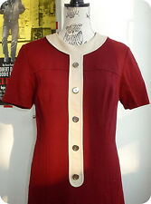 Vintage 60er KLEID 100% Schurwolle Shift Dress Trapeze Sekretärin Burgundy M L