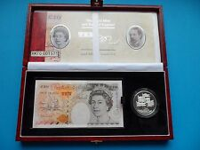 C120 BANK OF ENGLAND DEBDEN SET £10 POUND NOTE & SILVER £5 COIN  - HM70 001571