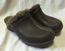 Crocs Women's 11 Brown Fur Lined Eva Cobbler 11552 Wedge Clogs Mules Slip On