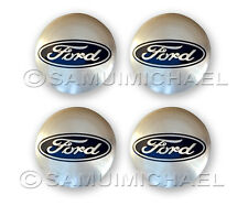 x4 SILVER FORD ALLOY WHEEL CENTRE CAPS 54MM - FOCUS/MONDEO/FIESTA/KA & OTHERS