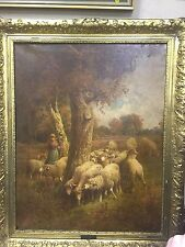 Oil on Canvas, German painting of sheep by Max Breu