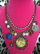 Betsey Johnson Vintage Cherub Lamb Little Girl Rose Angel Flower Necklace RARE