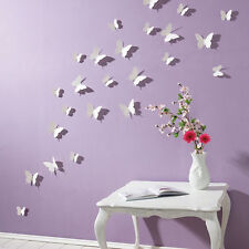 3D Butterfly Wall Stickers 15pcs White Butterfly Decorations Bathroom Bedroom 33