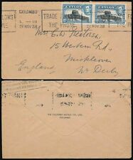 CEYLON 1938 SLOGAN CANCEL TELEPHONE to DERBY COLOMBO HOTELS ENV + AIR RATE BOXED