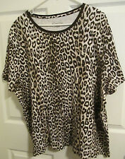 Kim Rogers 3X plus leopard pattern brown/tan casual knit top short sleeves