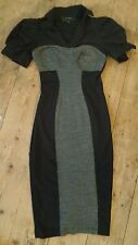 RIVER ISLAND TWEED WIGGLE DRESS SIZE 8 - Black LBD, 1950's Vintage Style