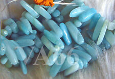 DIY Blue Amazonite Gemstone Teeth Stick Shape L Spike Chips Briolete Batu Asli
