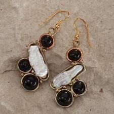 New Tara Mesa Biwa Cultured Pearl & Onyx Earrings