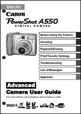 Canon Powershot A550  Digital Camera User Guide Instruction  Manual