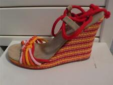 Marc Jacobs Red Pink Yellow Rope Ankle Wrap Wedges Heels NIB 39 9