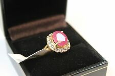 4.46 cts Ruby and White Sapphire Gold Ring