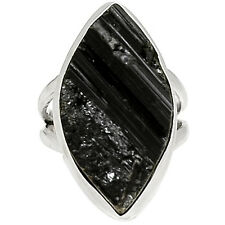 Black Tourmaline Rough 925 Sterling Silver Ring Jewelry s.6.5 BTRR115